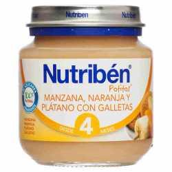 Nutriben Potito Bebe Manzana naranja platano y galletas 130 gr